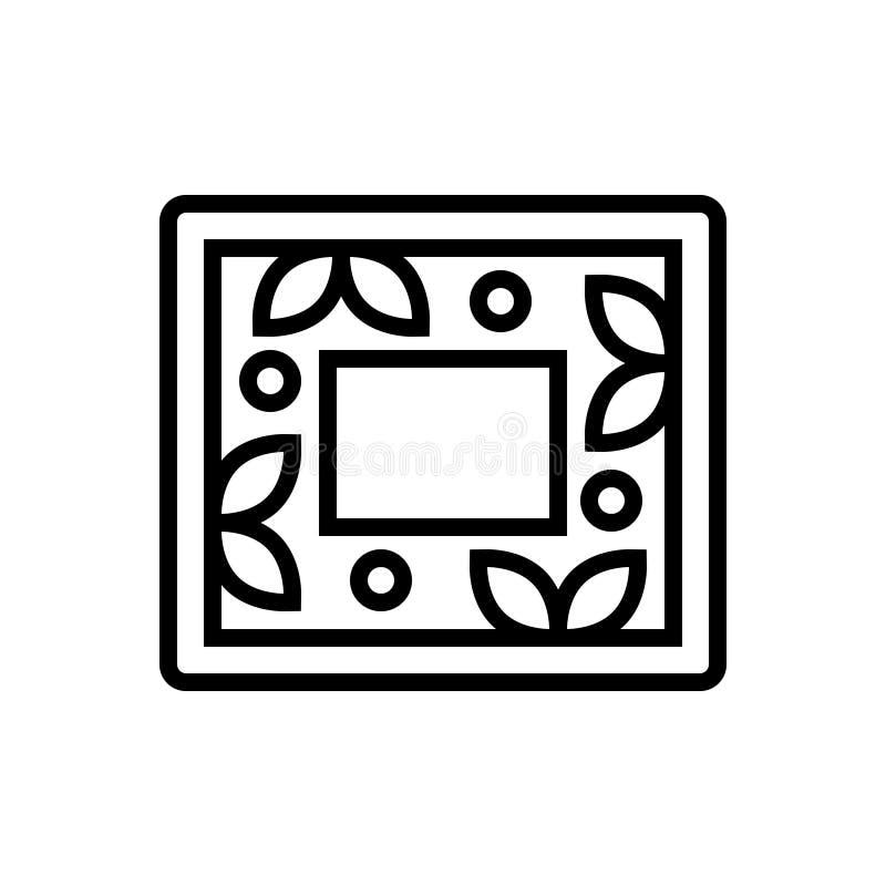 Μαύρο εικονίδιο γραμμών για το πλαίσιο, τη φωτογραφία και το λεύκωμα διανυσματική απεικόνιση