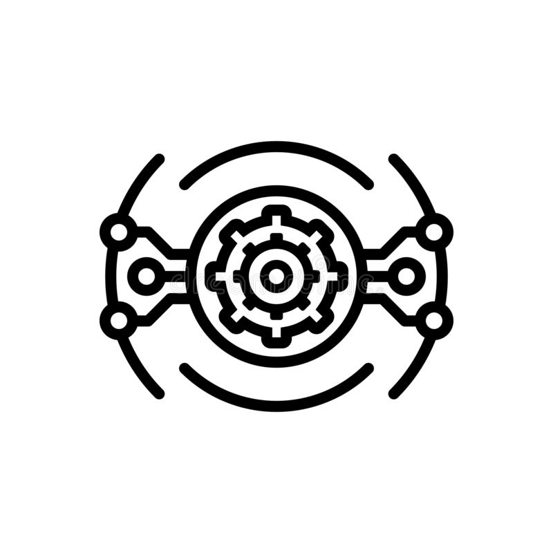 Μαύρο εικονίδιο γραμμών για Aautomation, τεχνολογία και ηλεκτρονικός ελεύθερη απεικόνιση δικαιώματος