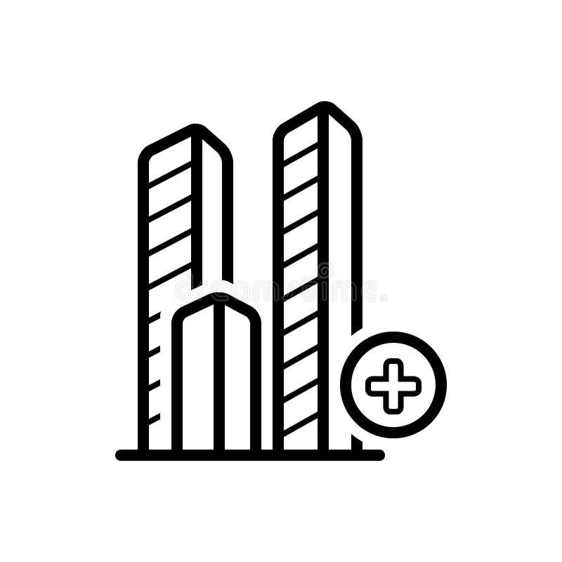 Μαύρο εικονίδιο γραμμών για Add το ορόσημο, το ξενοδοχείο και τη φιλοξενία διανυσματική απεικόνιση