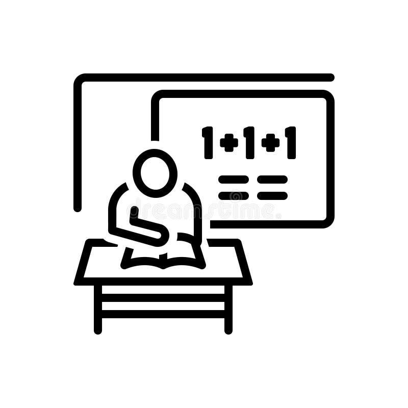 Μαύρο εικονίδιο γραμμών για Classwork, το σπουδαστή και τη μελέτη διανυσματική απεικόνιση