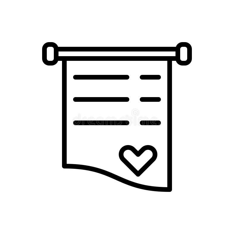 Μαύρο εικονίδιο γραμμών για Invite, την κάρτα και την επιστολή ελεύθερη απεικόνιση δικαιώματος