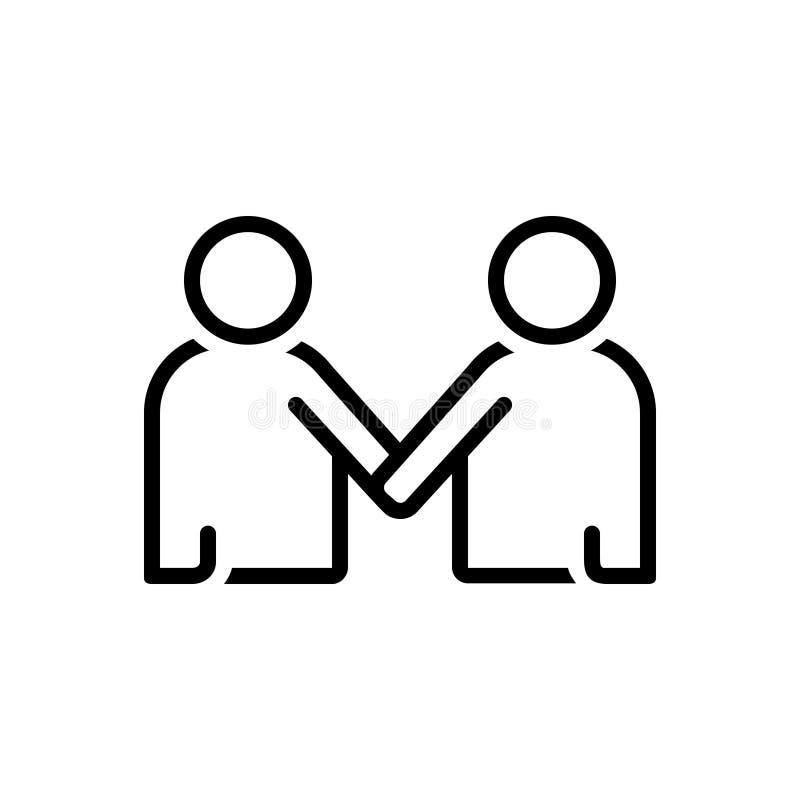 Μαύρο εικονίδιο γραμμών για Mentorship, το μέλος και το πρόσωπο διανυσματική απεικόνιση