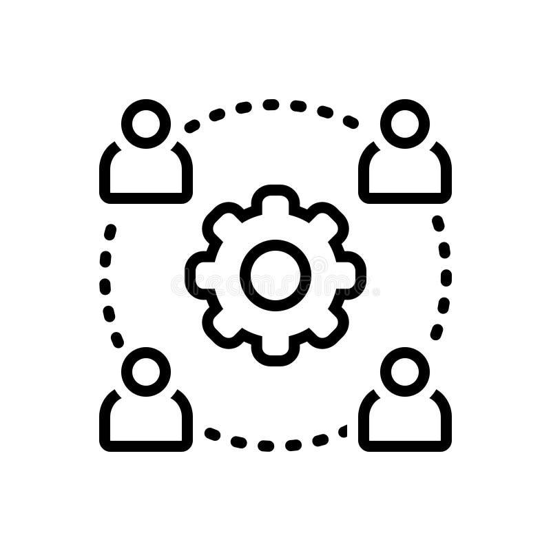 Μαύρο εικονίδιο γραμμών για Outsource τη διαχείριση, την αρχή και τη διοίκηση απεικόνιση αποθεμάτων
