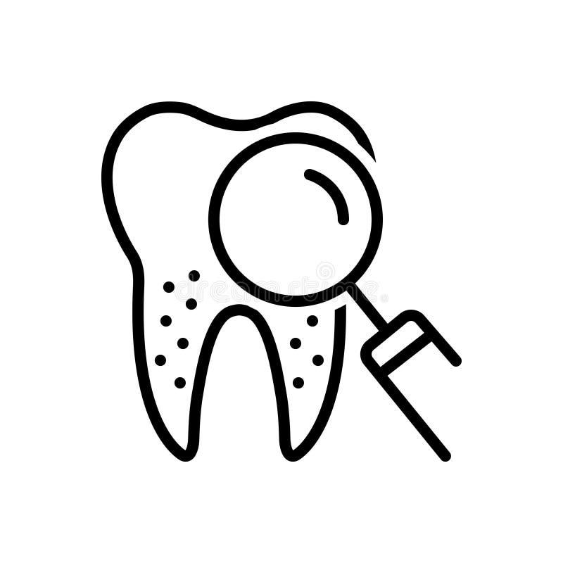 Μαύρο εικονίδιο γραμμών για Periodontics, οδοντικός και τα δόντια απεικόνιση αποθεμάτων