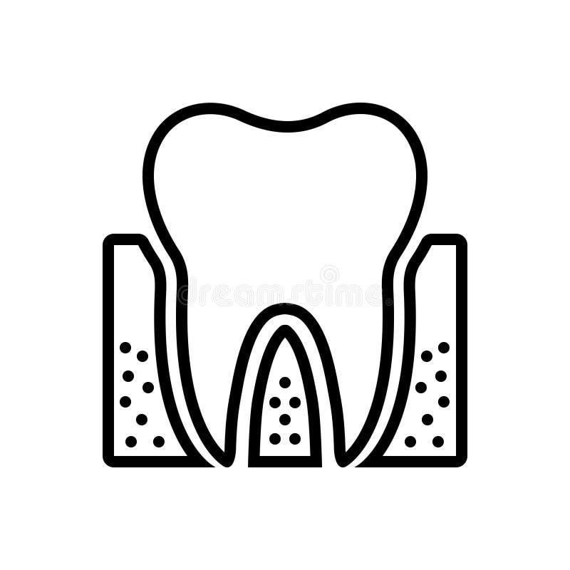 Μαύρο εικονίδιο γραμμών για Periodontics, οδοντικός και την προσοχή ελεύθερη απεικόνιση δικαιώματος