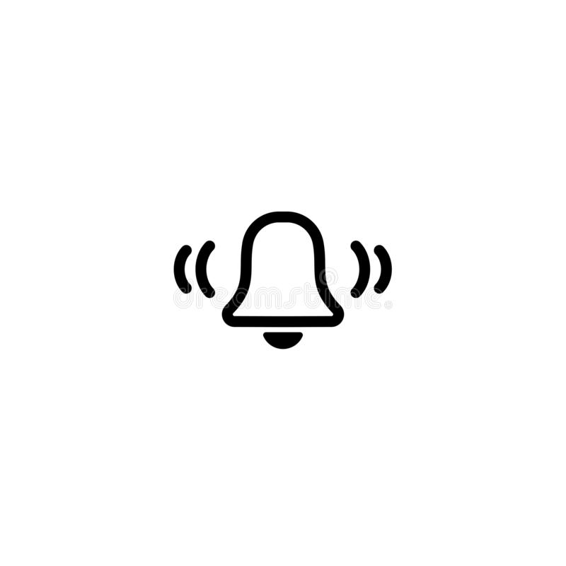 Μαύρο εικονίδιο γραμμών κουδουνιών κουμπί 'Ήχοσ' που απομονώνεται στο άσπρο υπόβαθρο Επίπεδη απλή διανυσματική απεικόνιση ελεύθερη απεικόνιση δικαιώματος
