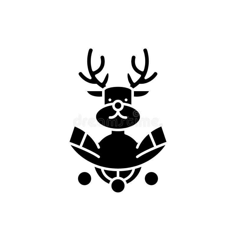 Μαύρο εικονίδιο διακοσμήσεων ελαφιών Χριστουγέννων, διανυσματικό σημάδι στο απομονωμένο υπόβαθρο Σύμβολο έννοιας διακοσμήσεων ελα ελεύθερη απεικόνιση δικαιώματος