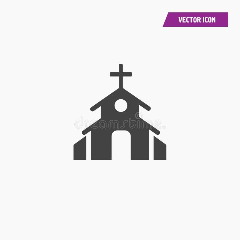 Μαύρο εικονίδιο εκκλησιών στο επίπεδο ύφος διανυσματική απεικόνιση
