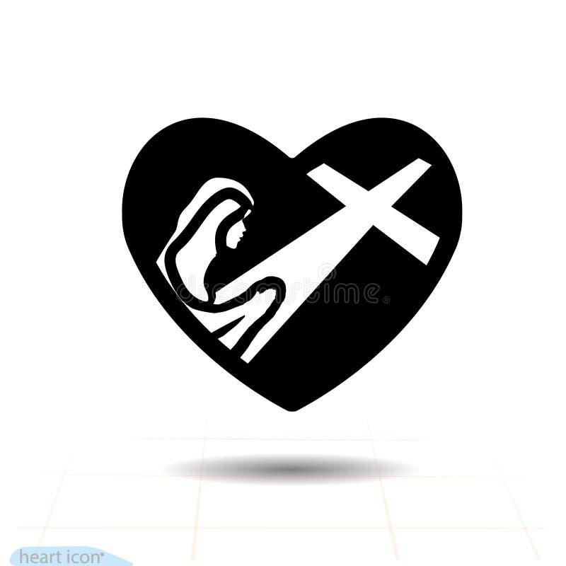 Μαύρο εικονίδιο καρδιών, σύμβολο αγάπης Σκιαγραφία μιας νέας γυναίκας, κορίτσι που προσεύχεται στην καρδιά Σημάδι ημέρας βαλεντίν ελεύθερη απεικόνιση δικαιώματος