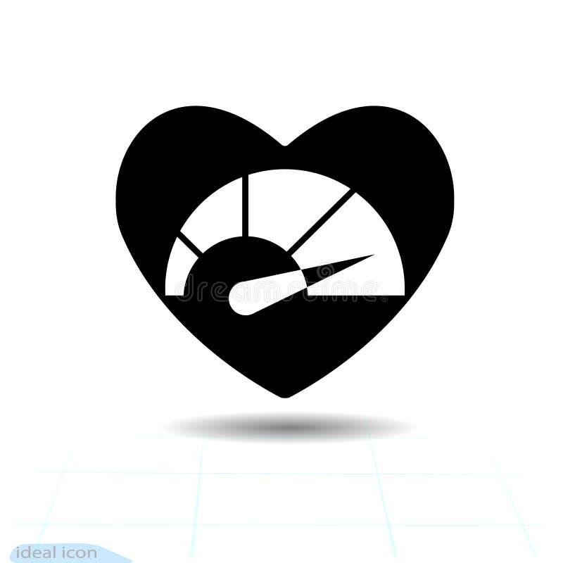 Μαύρο εικονίδιο καρδιών, σύμβολο αγάπης Ταχύμετρο στην καρδιά Σημάδι ημέρας βαλεντίνων, έμβλημα, επίπεδο ύφος για το γραφικό και  απεικόνιση αποθεμάτων