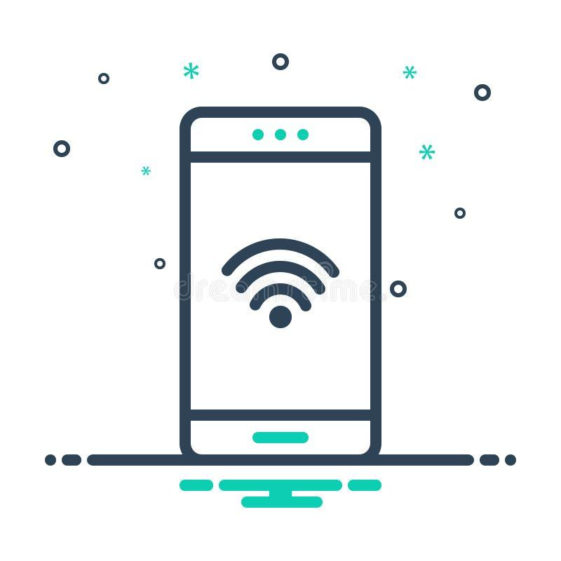 Μαύρο εικονίδιο μιγμάτων για τη σύνδεση Wifi, κινητός και τη σύνδεση απεικόνιση αποθεμάτων