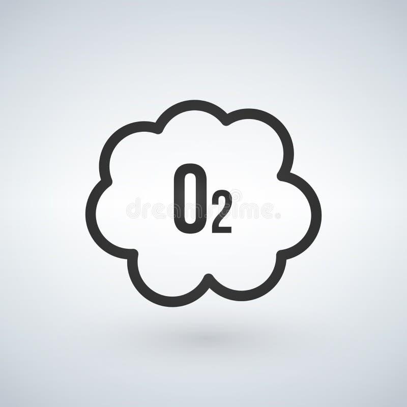 Μαύρο εικονίδιο οξυγόνου σύννεφων Ο2, διανυσματική απεικόνιση που απομονώνεται στο άσπρο υπόβαθρο ελεύθερη απεικόνιση δικαιώματος