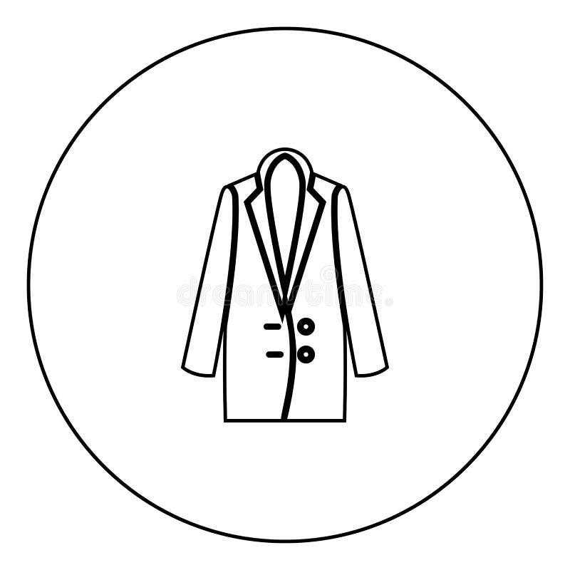 Μαύρο εικονίδιο παλτών γυναικών στην περίληψη κύκλων απεικόνιση αποθεμάτων