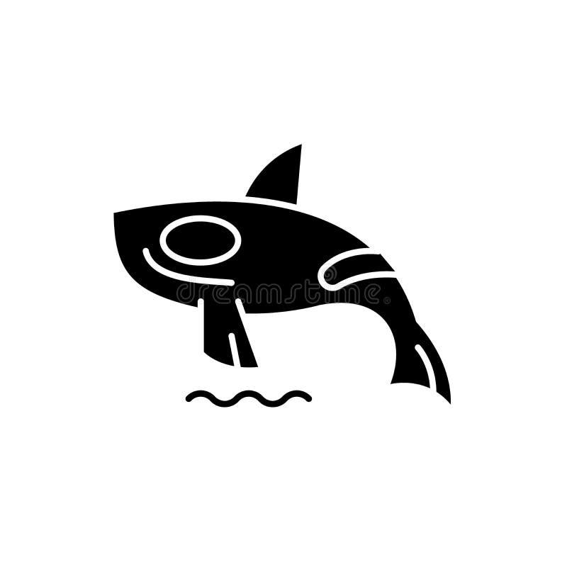 Μαύρο εικονίδιο φαλαινών δολοφόνων καρχαριών, διανυσματικό σημάδι στο απομονωμένο υπόβαθρο Σύμβολο έννοιας φαλαινών δολοφόνων καρ απεικόνιση αποθεμάτων