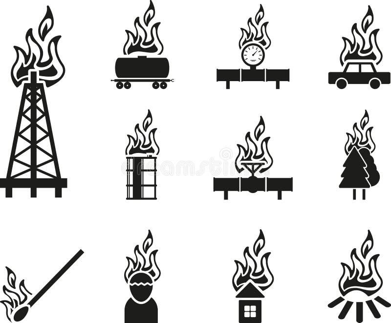 Μαύρο εικονίδιο πυρκαγιάς απεικόνιση αποθεμάτων