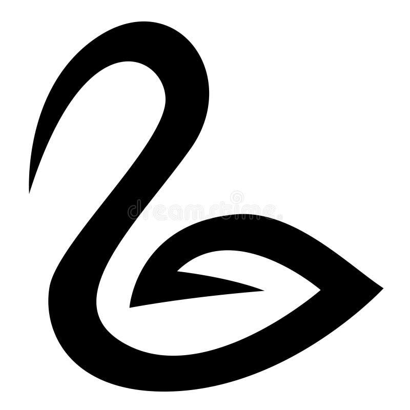 Μαύρο εικονίδιο του Κύκνου απεικόνιση αποθεμάτων