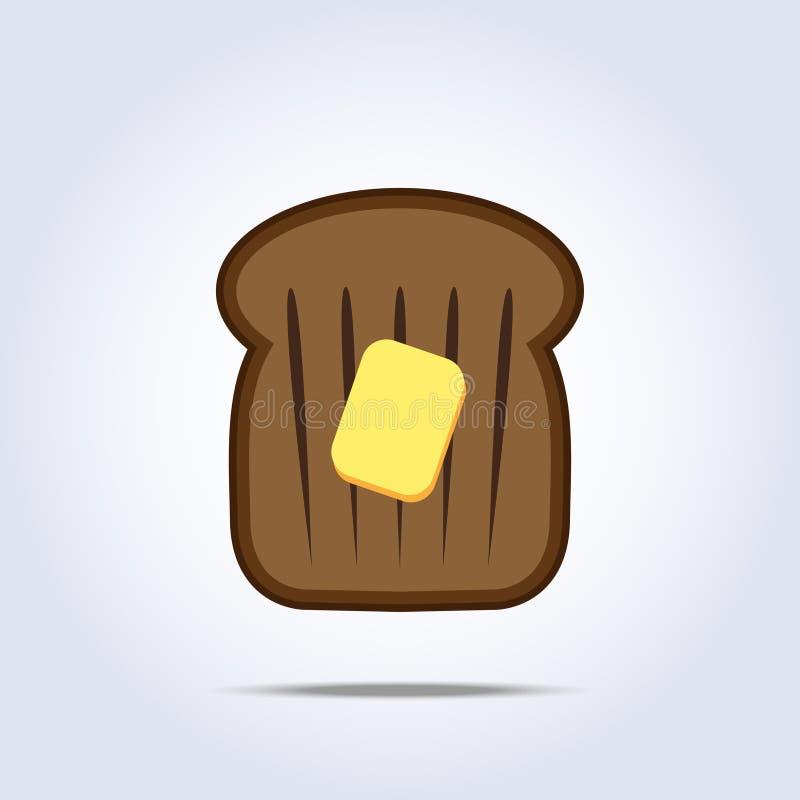 Μαύρο εικονίδιο φρυγανιάς ψωμιού με το βούτυρο διανυσματική απεικόνιση