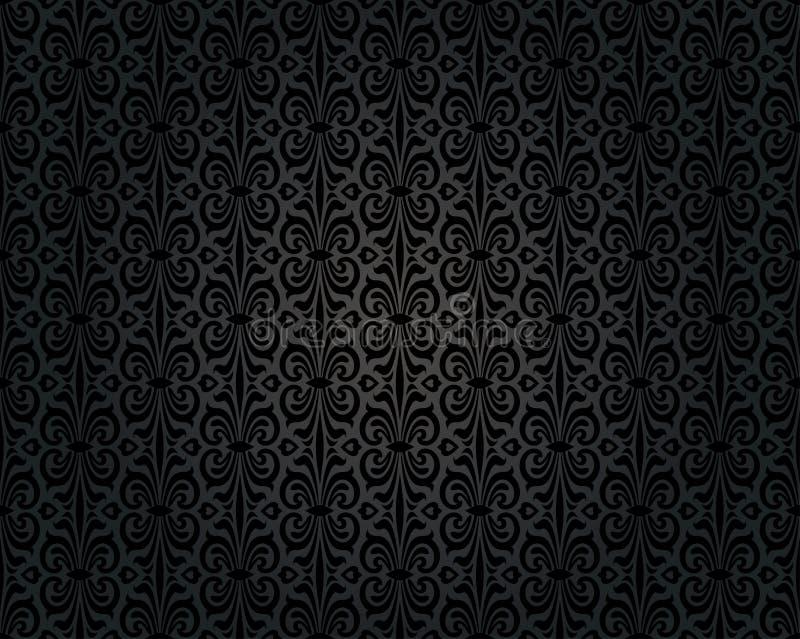 Μαύρο εκλεκτής ποιότητας επαναλαμβανόμενο σχέδιο υποβάθρου ταπετσαριών απεικόνιση αποθεμάτων