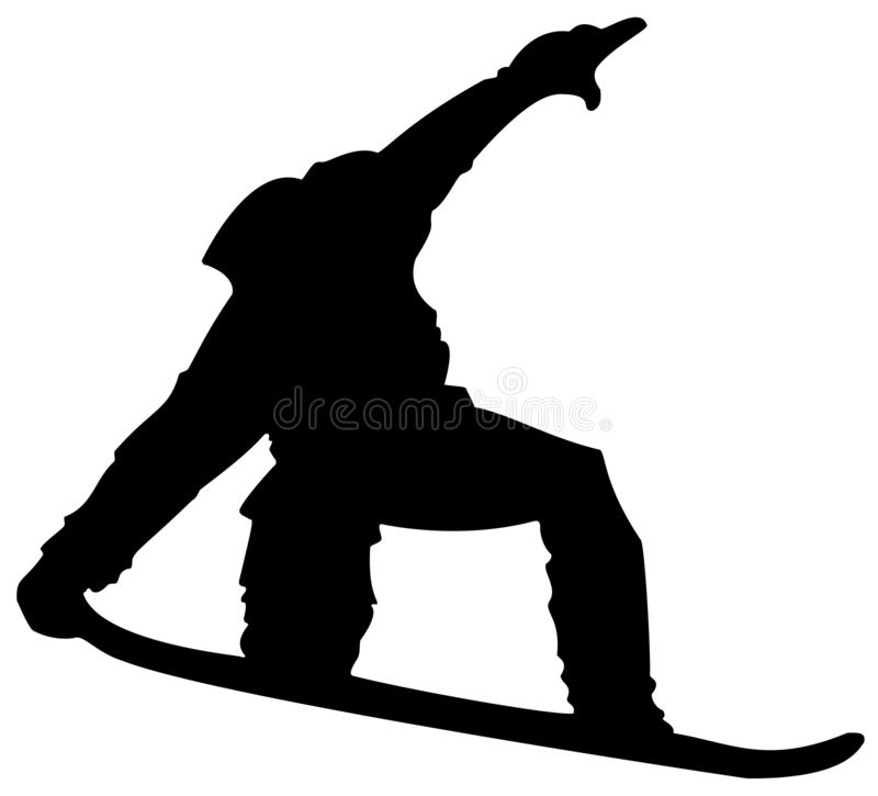 Μαύρο επίπεδο εικονίδιο Snowboarder στο άσπρο υπόβαθρο ελεύθερη απεικόνιση δικαιώματος