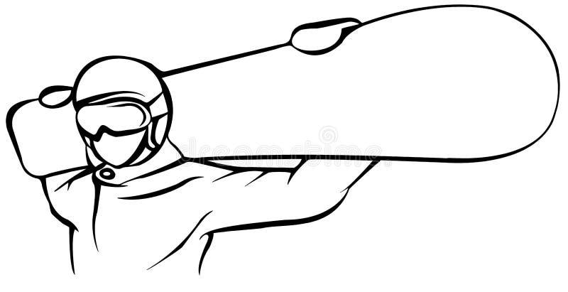 Μαύρο επίπεδο εικονίδιο Snowboarder στο άσπρο υπόβαθρο διανυσματική απεικόνιση