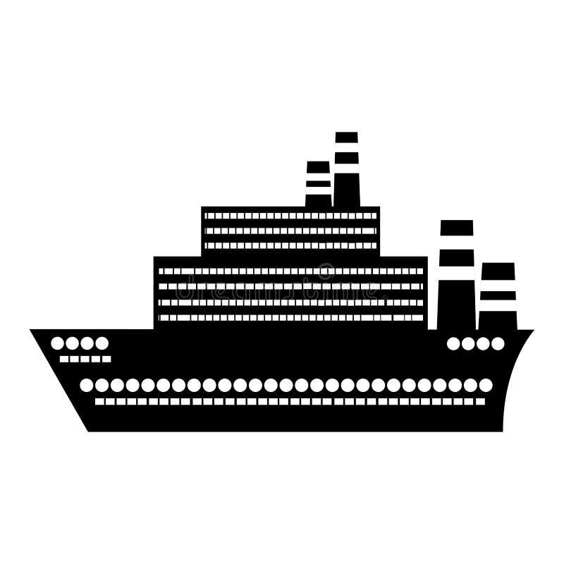 μαύρο επίπεδο εικονίδιο σχεδίου κρουαζιερόπλοιων σκιαγραφιών μεγάλο απεικόνιση αποθεμάτων