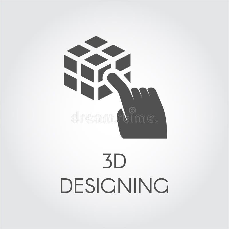 Μαύρο επίπεδο εικονίδιο του χεριού σχετικά με την τρισδιάστατη έννοια σχεδίου κύβων Ετικέτα της εικονικής διαμόρφωσης συσκευών Ψη διανυσματική απεικόνιση