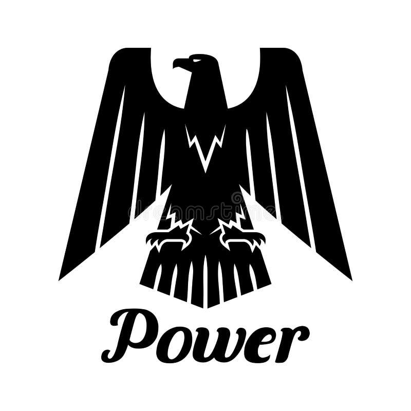 Μαύρο εραλδικό γοτθικό διανυσματικό εικονίδιο αετών διανυσματική απεικόνιση