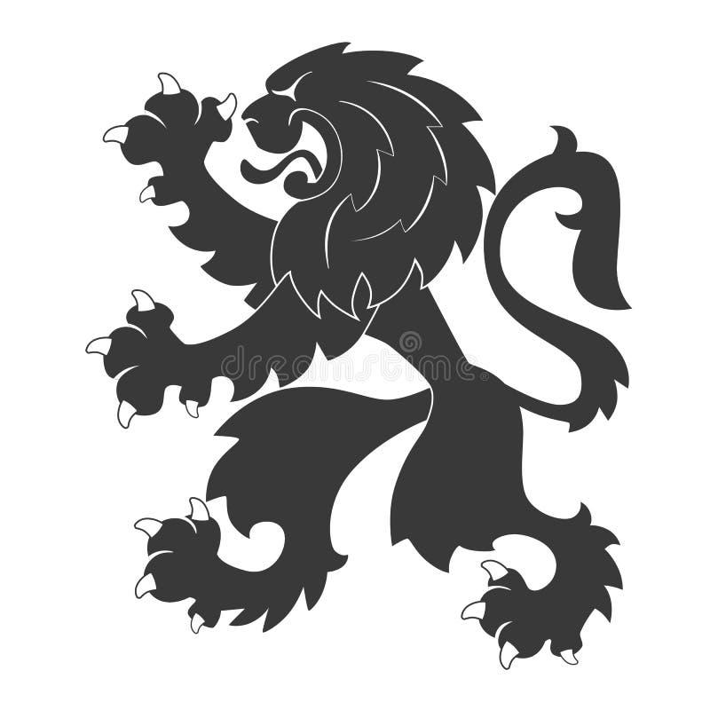 Μαύρο εραλδικό λιοντάρι απεικόνιση αποθεμάτων