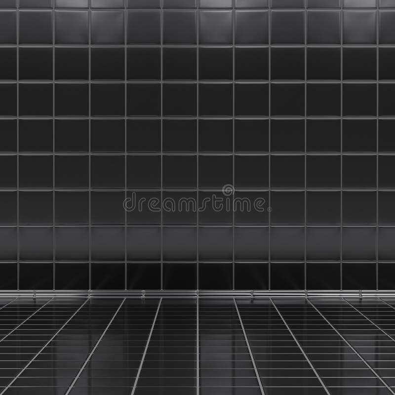 Μαύρο εσωτερικό δωματίων κεραμιδιών απεικόνιση αποθεμάτων