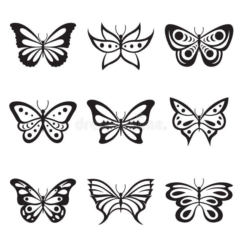 Μαύρο ζωικό διάνυσμα δερματοστιξιών πεταλούδων εντόμων και εικονιδίων σκιαγραφιών διανυσματική απεικόνιση