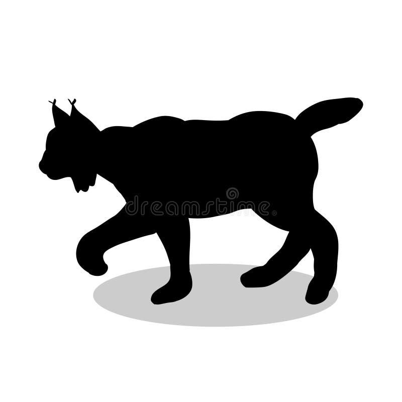 Μαύρο ζώο σκιαγραφιών άγριας φύσης λυγξ απεικόνιση αποθεμάτων