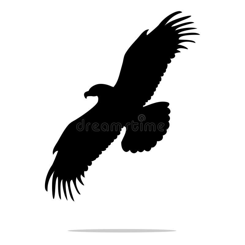 Μαύρο ζώο σκιαγραφιών πουλιών αετών διανυσματική απεικόνιση