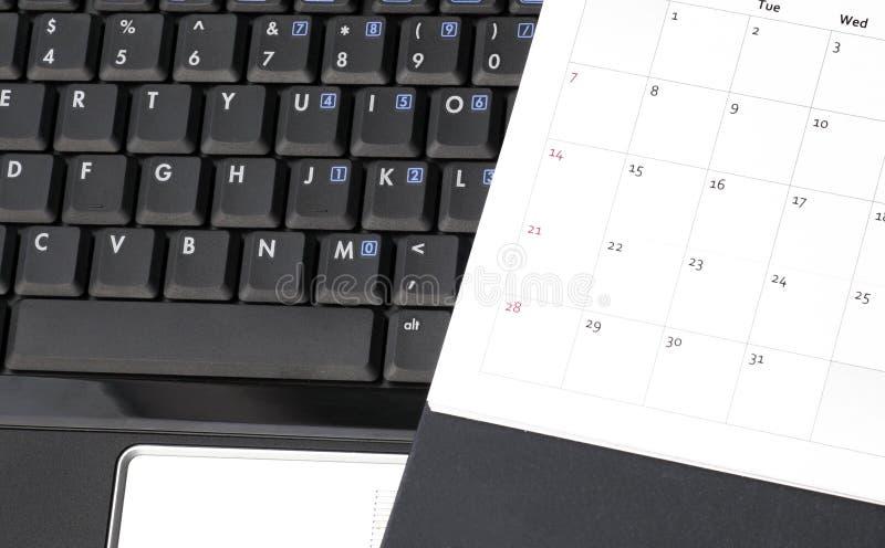 μαύρο ημερολογιακό lap-top στοκ εικόνα