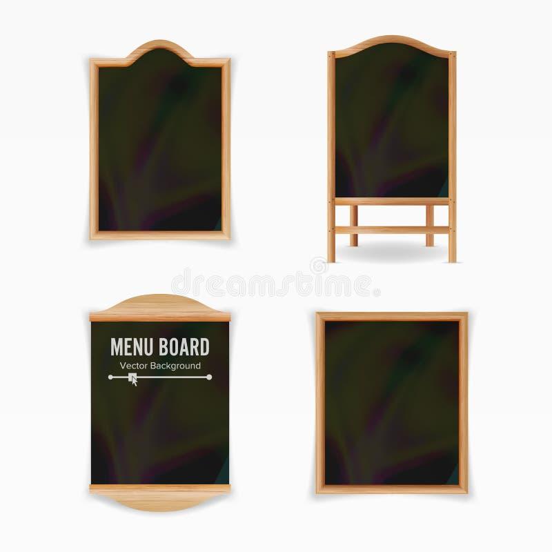 Μαύρο διάνυσμα πινάκων επιλογών Κενό σύνολο επιλογών καφέδων Ρεαλιστική ξύλινη κενή απεικόνιση πινάκων κιμωλίας διανυσματική απεικόνιση