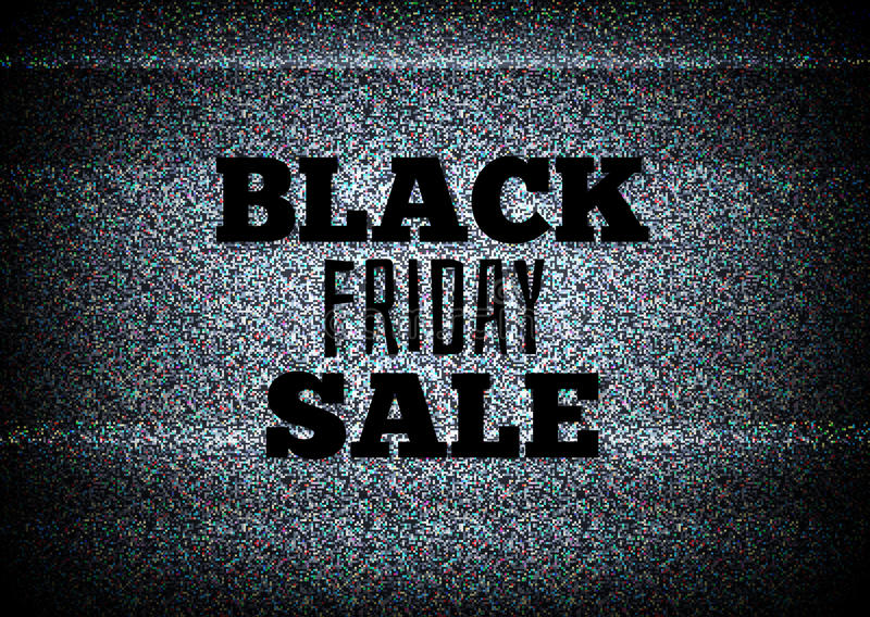 Μαύρο διάνυσμα πώλησης Παρασκευής τηλεοπτικής διαφήμισης ελεύθερη απεικόνιση δικαιώματος