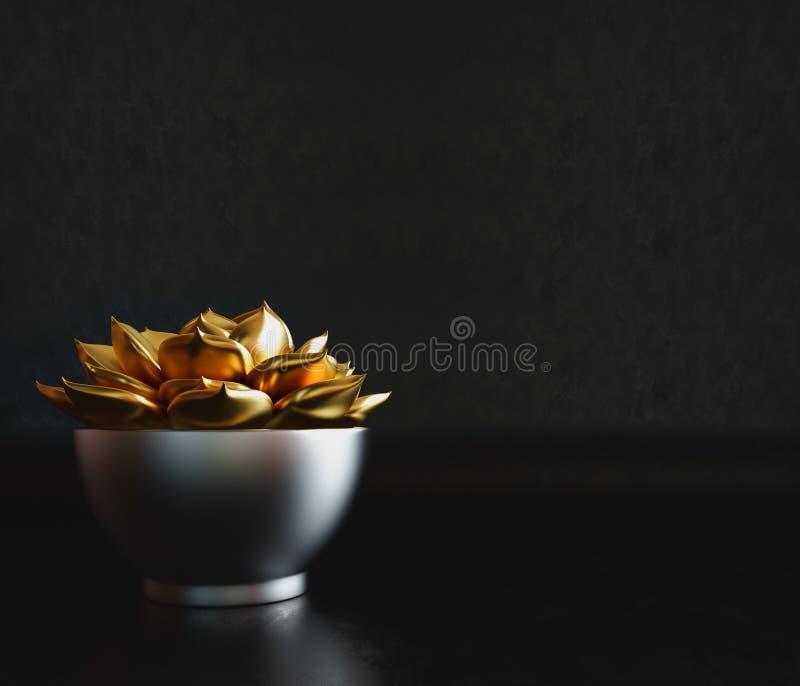 Μαύρο διακοσμητικό δοχείο με τις χρυσές εγκαταστάσεις μέσα σε ένα μαύρο υπόβαθρο στοκ εικόνα με δικαίωμα ελεύθερης χρήσης