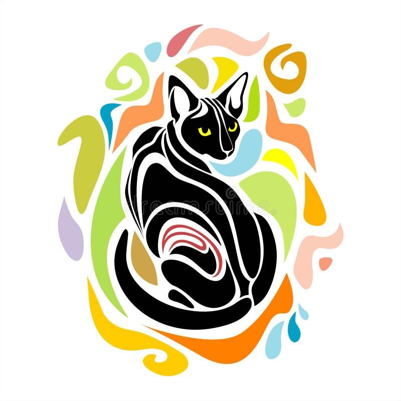 Μαύρο διανυσματικό διακοσμητικό γραφικό σχέδιο γατών διανυσματική απεικόνιση