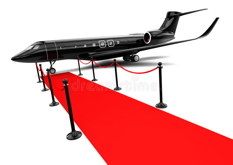 Μαύρο ιδιωτικό αεριωθούμενο αεροπλάνο διανυσματική απεικόνιση