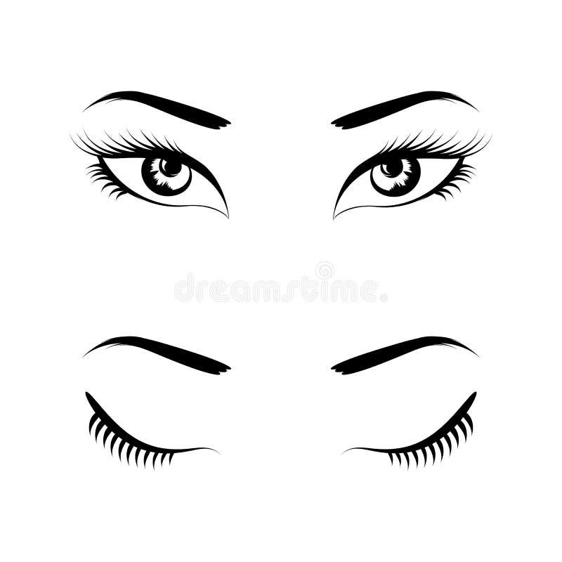 Μαύρο καθορισμένο διάνυσμα ματιών απεικόνιση αποθεμάτων