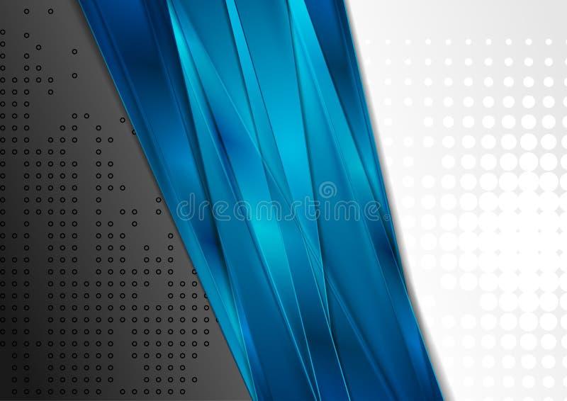 Μαύρο και γκρίζο υπόβαθρο αντίθεσης με τα μπλε λωρίδες διανυσματική απεικόνιση