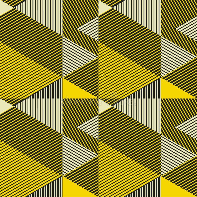 Μαύρο και κίτρινο γεωμετρικό άνευ ραφής σχέδιο αντίθεσης διανυσματική απεικόνιση