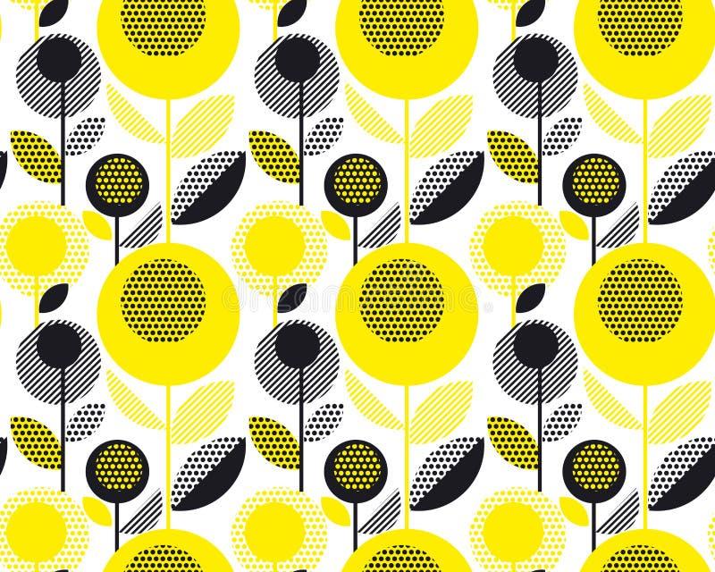 Μαύρο και κίτρινο κατασκευασμένο floral αναδρομικό σχέδιο της δεκαετίας του '60 ελεύθερη απεικόνιση δικαιώματος