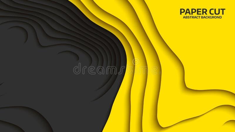 Μαύρο και κίτρινο κύμα η αφηρημένη ανασκόπηση έκοψε το διάνυσμα εγγράφου Αφηρημένα ζωηρόχρωμα κύματα εμβλήματα κυματιστά Γεωμετρι διανυσματική απεικόνιση