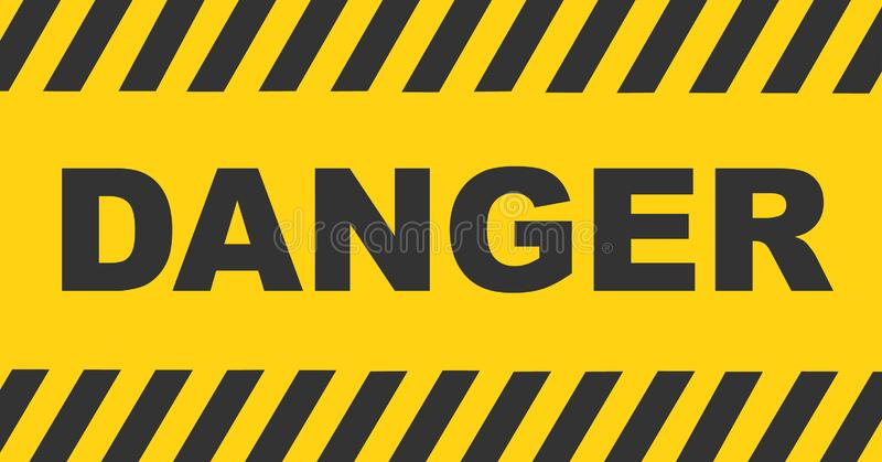 Μαύρο και κίτρινο ριγωτό υπόβαθρο γραμμών προειδοποίησης Σημάδι κειμένων κινδύνου ελεύθερη απεικόνιση δικαιώματος