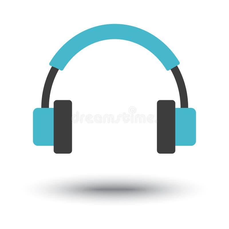 Μαύρο και μπλε εικονίδιο ακουστικών r απεικόνιση αποθεμάτων