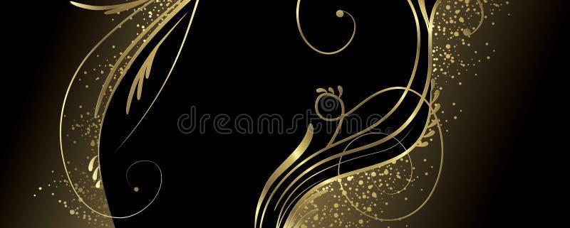 Μαύρο και χρυσό έμβλημα διανυσματική απεικόνιση
