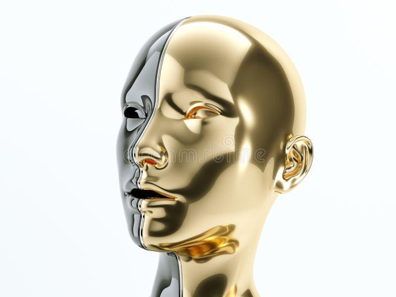 Μαύρο και χρυσό ανθρώπινο κεφάλι που χωρίζεται από τη γραμμή ως σύμβολο της ισορροπίας ελεύθερη απεικόνιση δικαιώματος