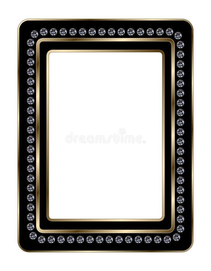 Μαύρο και χρυσό πλαίσιο φωτογραφιών Jeweled στοκ εικόνα με δικαίωμα ελεύθερης χρήσης