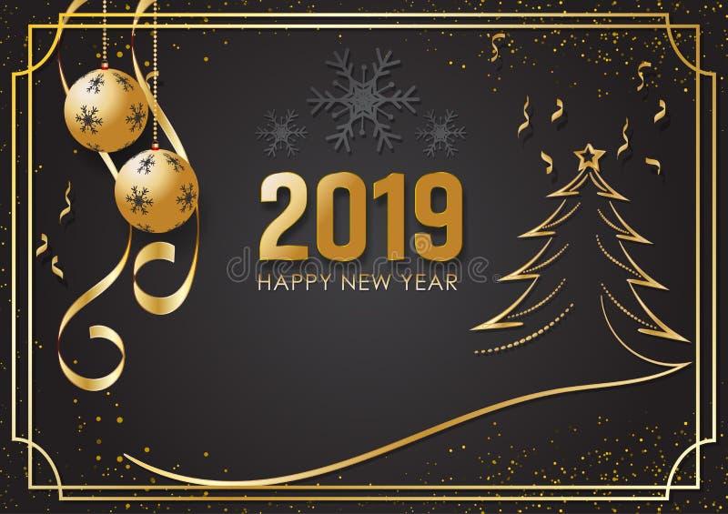 Μαύρο και χρυσό υπόβαθρο για καλή χρονιά 2019 και την εποχή Χριστουγέννων, διανυσματικό πρότυπο σχεδίου ευχετήριων καρτών χειμερι διανυσματική απεικόνιση