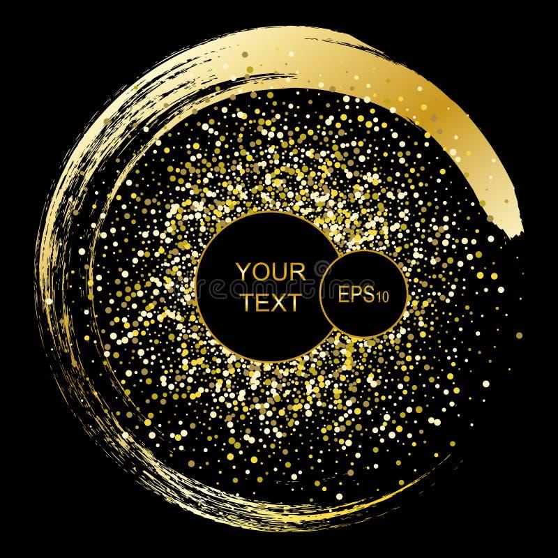 Μαύρο και χρυσό υπόβαθρο με το πλαίσιο κύκλων και διάστημα για το κείμενο Το διάνυσμα ακτινοβολεί διακόσμηση, χρυσή σκόνη, αφίσες διανυσματική απεικόνιση